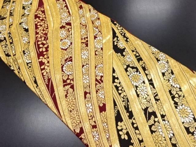 リサイクル 金糸菊模様織り出し袋帯【送料無料】