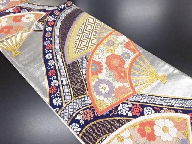 【セール30%オフ】リサイクル 花扇模様織り出し袋帯【送料無料】