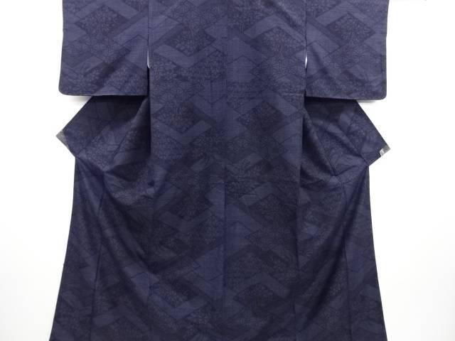 リサイクル 菱に花古典柄織り出し本真綿結城紬100亀甲着物【送料無料】