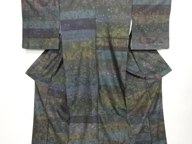 リサイクル 創作手織り紬 横段に唐花模様織り出し着物【送料無料】