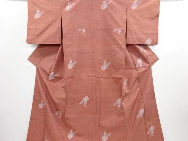 リサイクル 瓢箪に花唐草模様織り出し手織り真綿紬着物【送料無料】