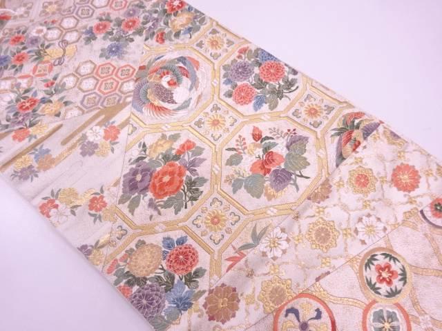 リサイクル 本金箔切嵌風花鳥に古典柄模様織出し袋帯【送料無料】