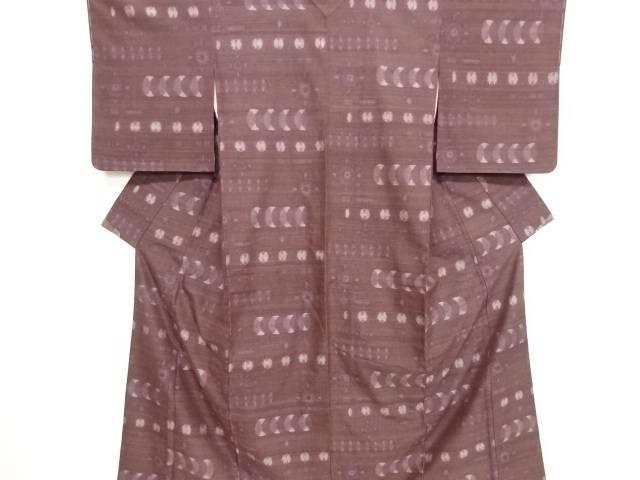リサイクル 抽象模様織り出し手織り真綿小千谷紬着物【送料無料】