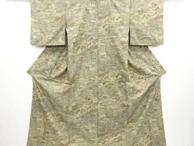 リサイクル 時代風景模様手織り節紬着物【送料無料】