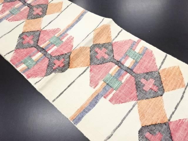リサイクル 未使用品 手織り真綿紬横段に幾何学模様織り出し名古屋帯【送料無料】