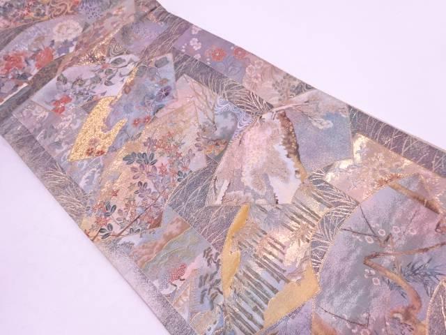 リサイクル プラチナ本金箔地紙に松竹梅・時代人物模様織出し全通袋帯【送料無料】