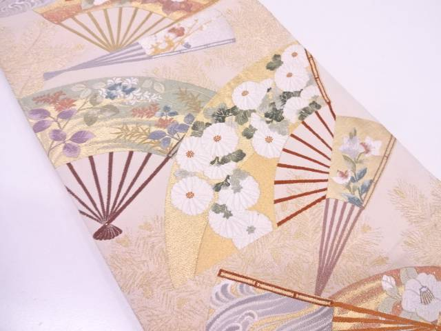 リサイクル 唐織扇に若松・花模様織出し袋帯【送料無料】