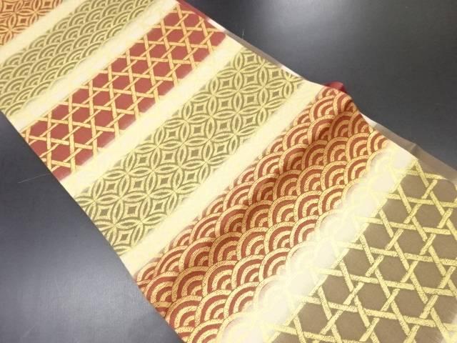 【セール30%オフ】リサイクル 紗金糸横段に古典柄織り出し袋帯【送料無料】
