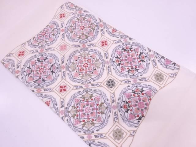 リサイクル 相良刺繍蜀江文に華文模様袋帯【送料無料】