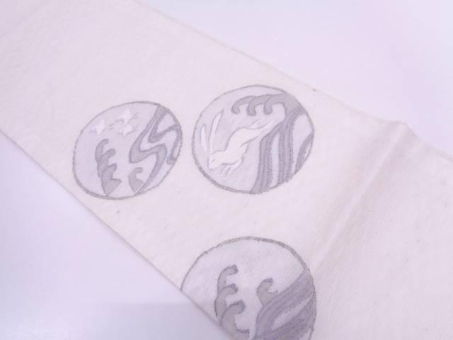 リサイクル すくい織丸紋に兎・千鳥模様織出し袋帯【送料無料】