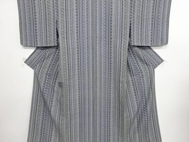未使用品 仕立て上がり 縞に古典柄単衣小紋着物【送料無料】