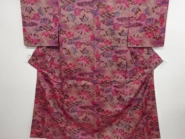 リサイクル 抽象松に楓模様織り出し手織り紬単衣着物【送料無料】