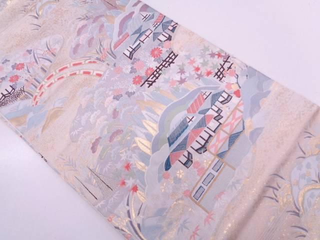 リサイクル 九百錦純金箔24Kかしき風景模様織出し袋帯【送料無料】