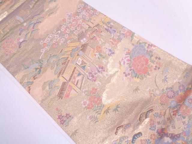 【セール30%オフ】リサイクル 松に家屋・時代人物・風景模様織出し袋帯【送料無料】
