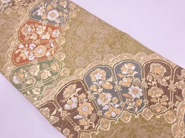 リサイクル 未使用品 草花に抽象模様織出し袋帯(あぜくら)【送料無料】