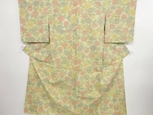 リサイクル 牡丹模様織り出し手織り真綿紬単衣着物【送料無料】