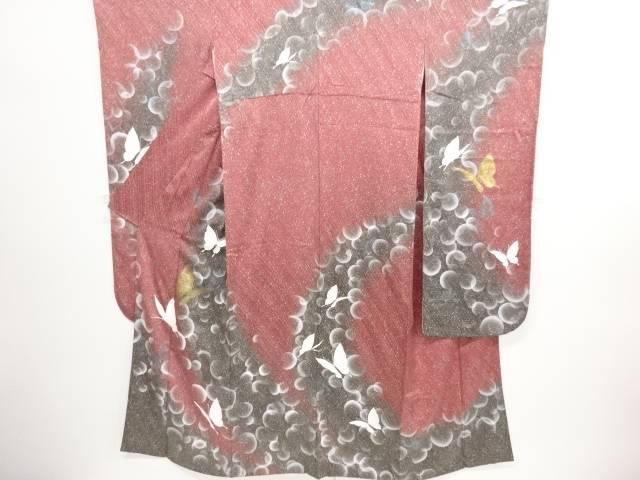 リサイクル 金彩蝶模様振袖・長襦袢・袋帯セット【送料無料】