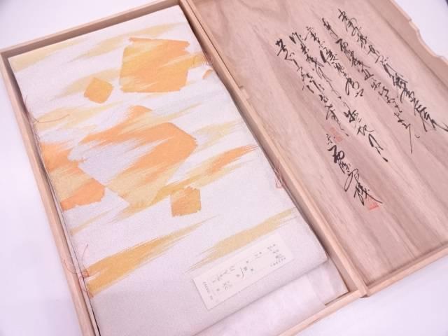 リサイクル 未使用品 本綴れ霞に破れ色紙散らし模様織出し袋帯【送料無料】