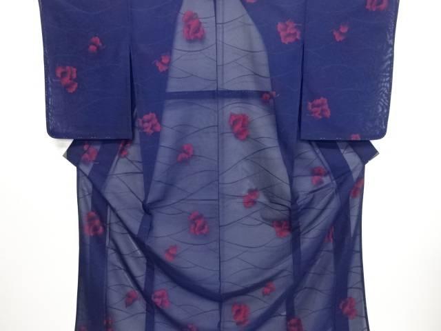 未使用品 仕立て上がり 紗花模様織り出し着物【送料無料】