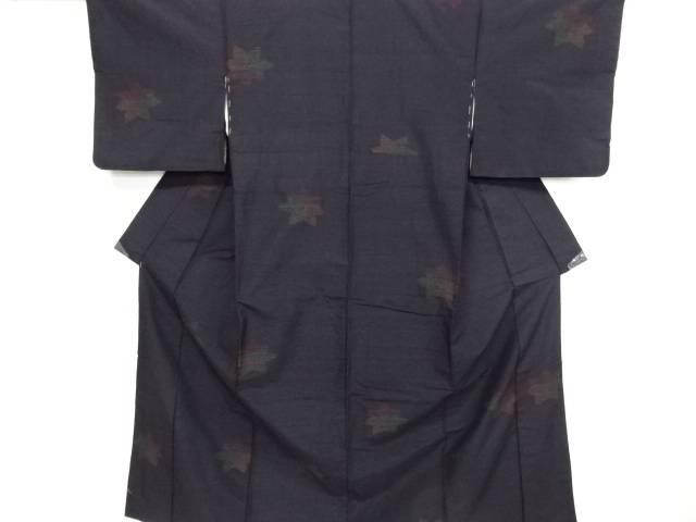 リサイクル 楓模様織り出し本真綿結城紬80亀甲着物【送料無料】
