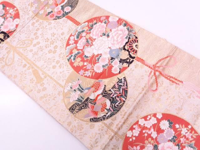 【セール30%オフ】リサイクル 本金箔丸文に花鳥・組紐模様織出し袋帯【送料無料】