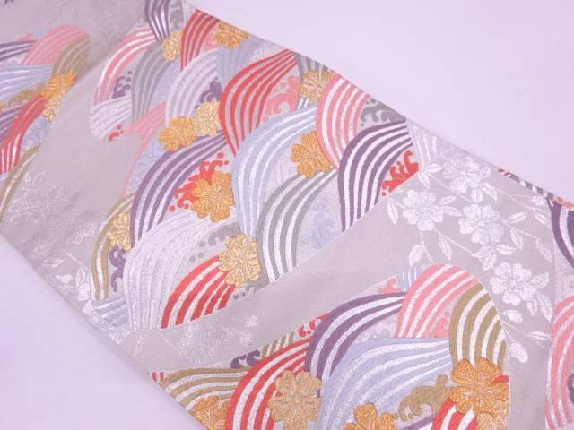 【セール30%オフ】リサイクル 未使用品 波に桜模様織出し袋帯【送料無料】