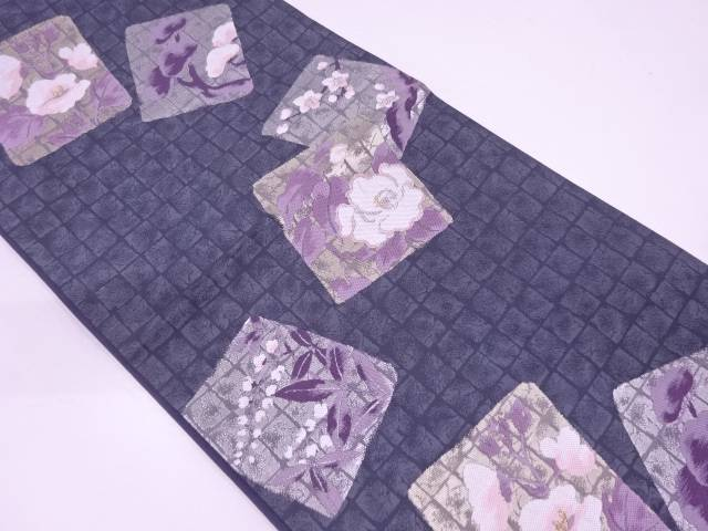 リサイクル 色紙に草花模様織出し袋帯【送料無料】