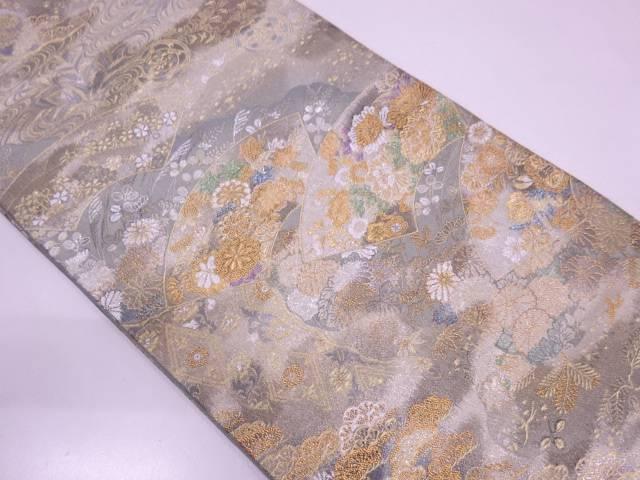 【セール30%オフ】リサイクル 未使用品 地紙に流水・草花模様織出し袋帯【送料無料】