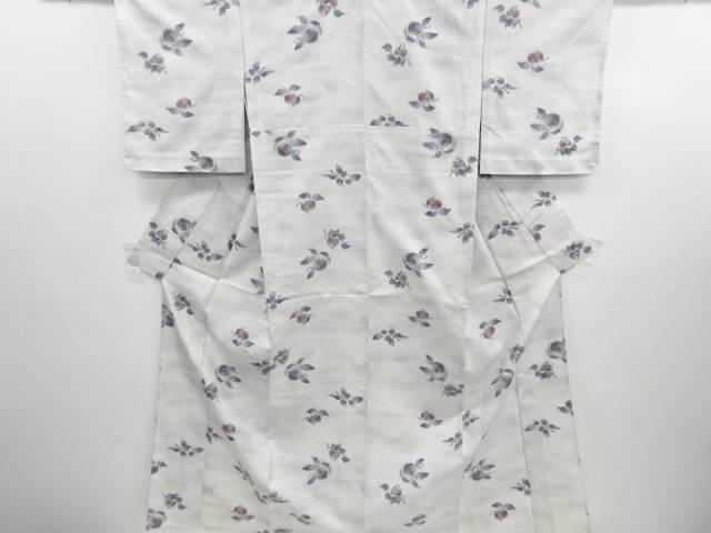 リサイクル 未使用品 流水に柿・栗模様織り出し手織り真綿紬単衣着物【送料無料】