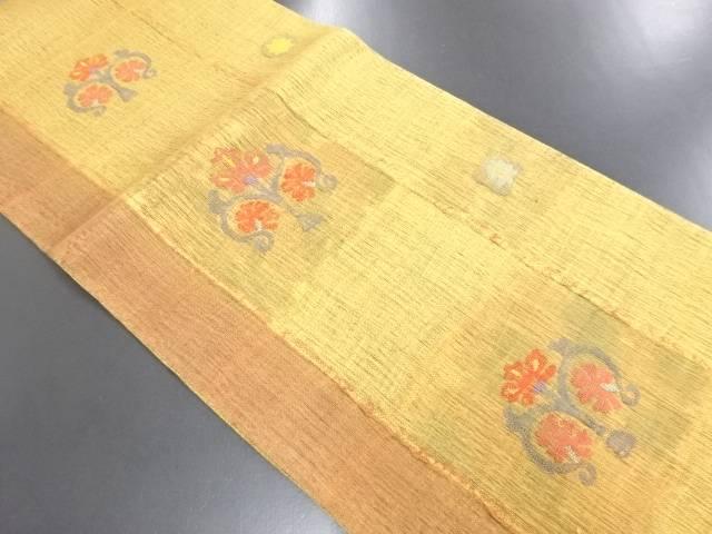 リサイクル 手織り紬格子に花模様織り出し袋帯【送料無料】