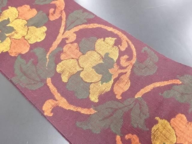 リサイクル 手織り真綿紬花唐草模様織り出し名古屋帯【送料無料】