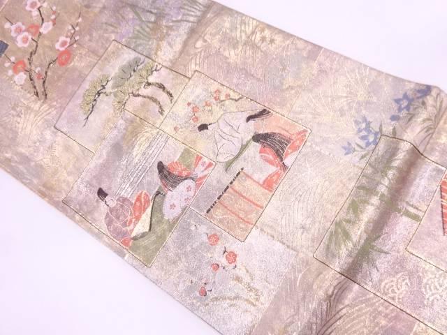 リサイクル 色紙に松竹梅・時代人物模様織出し袋帯【送料無料】