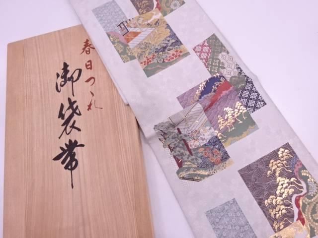 リサイクル 純金箔色紙に草花・屋敷風景模様織出し袋帯【送料無料】