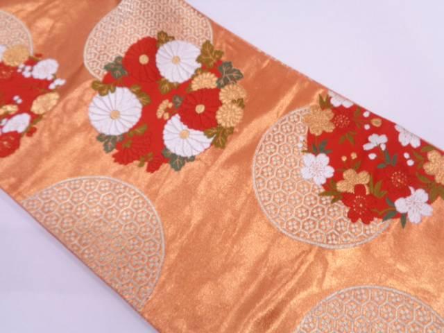 【セール30%オフ】リサイクル 河合美術織物製 丸文に亀甲・草花模様織出し袋帯【送料無料】