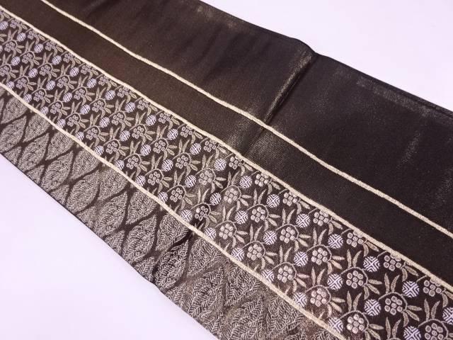 【セール30%オフ】リサイクル 未使用品 辻織製 縞に笹蔓模様織出し袋帯【送料無料】