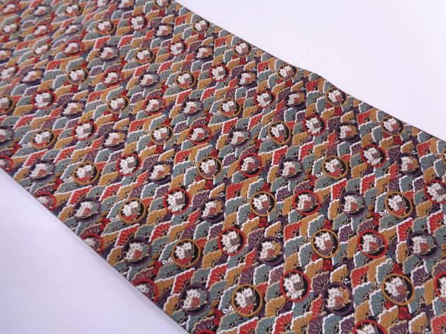 【セール30%オフ】リサイクル 笠松に蝶模様織出し袋帯【送料無料】