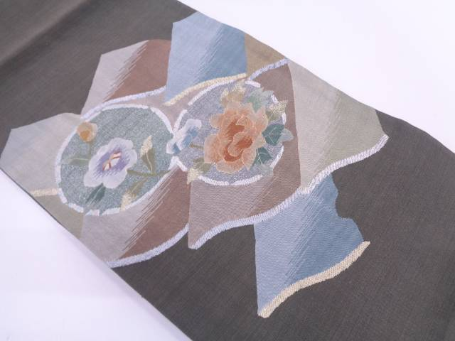 【セール30%オフ】リサイクル すくい織瓦に牡丹・椿模様織出し袋帯【送料無料】