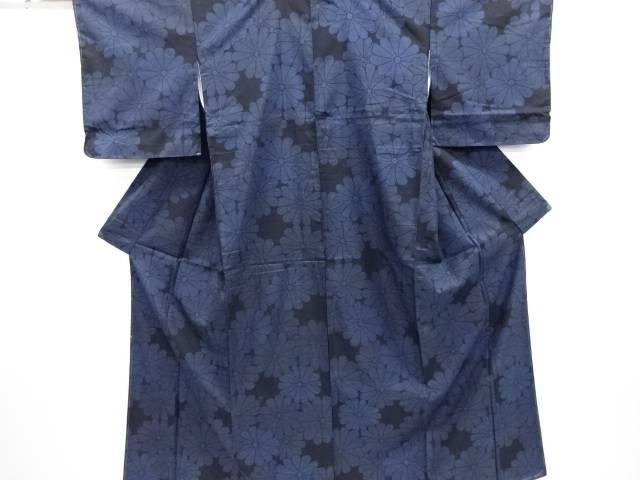 リサイクル 菊模様織り出し本場泥大島紬着物(5マルキ)【送料無料】