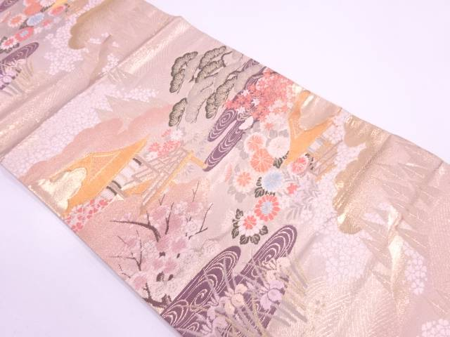リサイクル 本金箔屋敷風景模様織出し袋帯【送料無料】