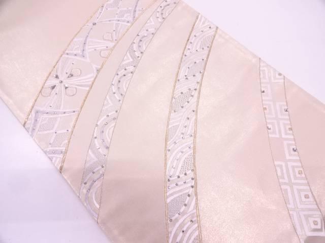 【セール30%オフ】リサイクル 抽象波に花模様刺繍袋帯【送料無料】
