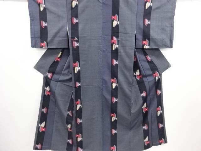 リサイクル 未使用品 縞に蝶模様織り出し手織り真綿紬越後絵絣着物【送料無料】