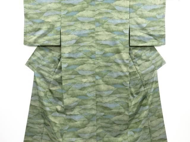 リサイクル 抽象木立模様織り出し手織り紬着物【送料無料】