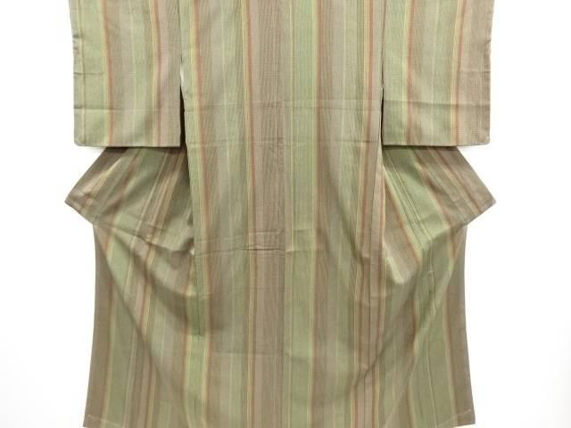 未使用品 仕立て上がり 縞織り出し手織り紬着物【送料無料】
