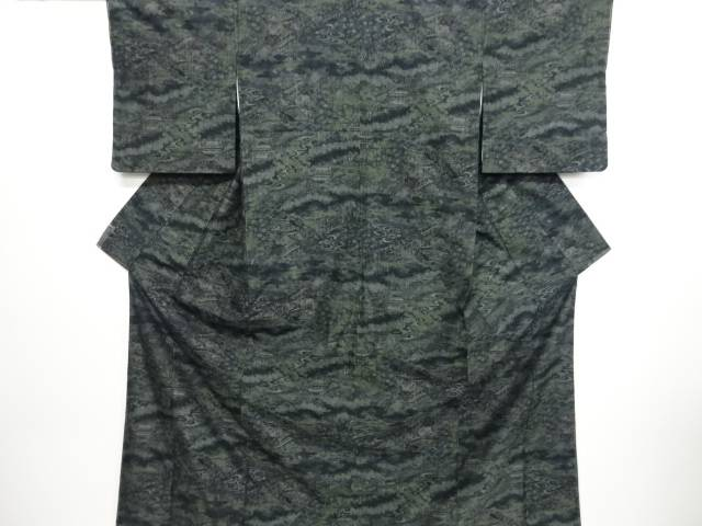 リサイクル 未使用品 寺院風景模様織り出し本場結城紬100亀甲着物(石下)【送料無料】