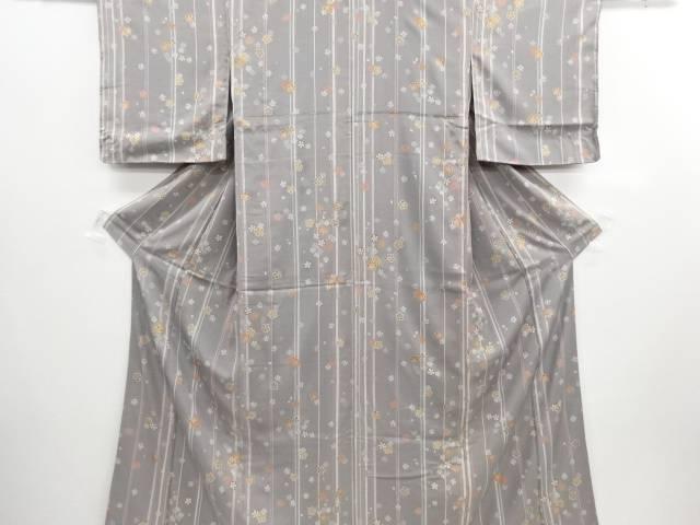 未使用品 仕立て上がり 金彩縞に桜模様小紋着物【送料無料】