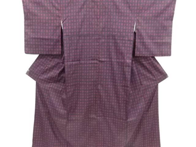 リサイクル 十字絣柄織り出し手織り真綿紬着物【送料無料】