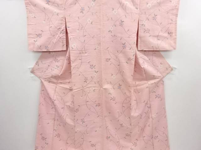 リサイクル 枝花模様織り出し手織り真綿紬着物【送料無料】