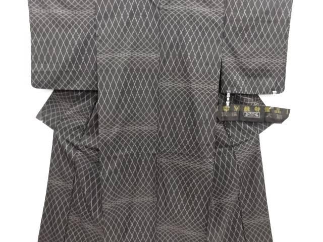 リサイクル 変わり格子模様織り出し本場泥大島紬着物(5マルキ)【送料無料】