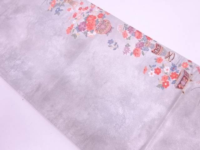 リサイクル 花器に牡丹・草花襷模様織出し袋帯【送料無料】