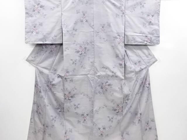 リサイクル 未使用品 枝花模様織り出し本場白大島紬着物(5マルキ)【送料無料】